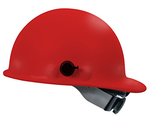 Fibre-Metal by Honeywell P2AQSW15A000 Super Eight Swing Strap Fiber Glass Cap Style Hard Hat with Quick-Lok, Red