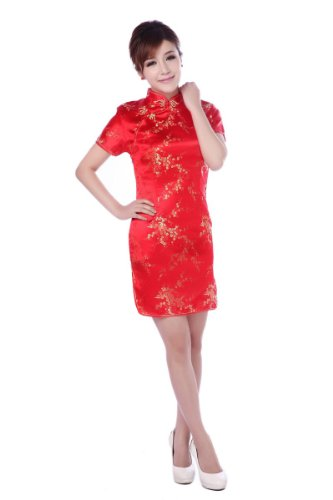 (Jtc Women Cheongsam Short Sleeve Chinese Dress Slim Skirt Wedding Prop Outfit (8-10) Red)
