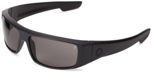 Spy Optic Men's Logan Wrap Sunglasses,Matte Black Frame/Grey Lens,one size