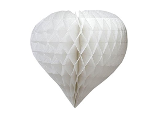 16 Inch Heart-Shaped Honeycomb Paper Lantern - White -
