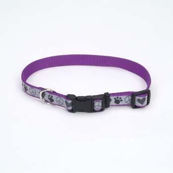"Coastal Pet Lazer Brite Reflective Nylon Dog Collar in Purple with Peace Signs & Hearts, Medium, 5/8"" Width"