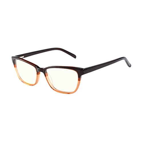Classic Computer Gaming Reading Brown Tinted Glasses with Anti Blue Light Anti Glare UV400 for All Digital - Glasses Tinted Benefits Blue