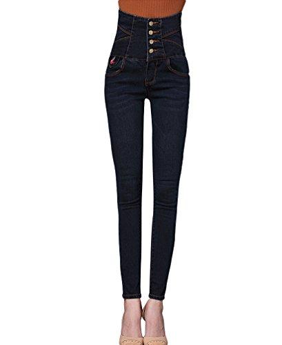 Blu Lunghi Sentao Pantaloni Jeans Pantaloni Slim Vita Skinny Alta Jeans Vintage Donna A Denim Matita Leggings Nero Pantaloni vqwv4axOr