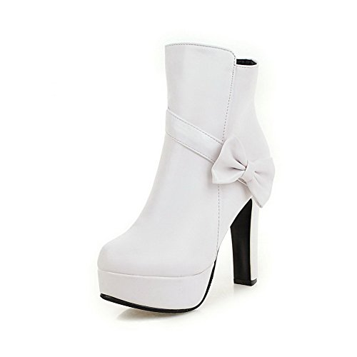 AgooLar Women's Closed Round Toe High-Heels Soft Material Low-Top Solid Boots White