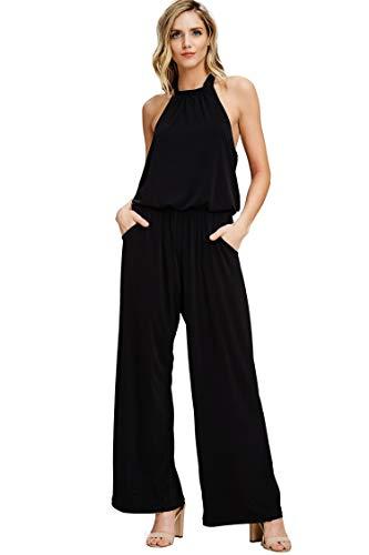 Annabelle Women's Halter Neck Back Tie Sleeveless Full Length Plus Size Jumpsuit Black X-Large J8090P