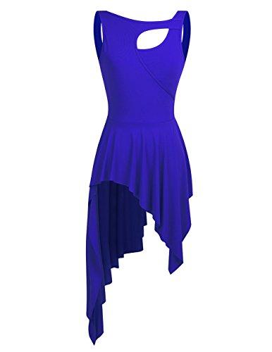 YiZYiF Lyrical Women Ballet High Low Dance Dress Leotard Short Dress With Sleeveless Crew Neck Blue Medium
