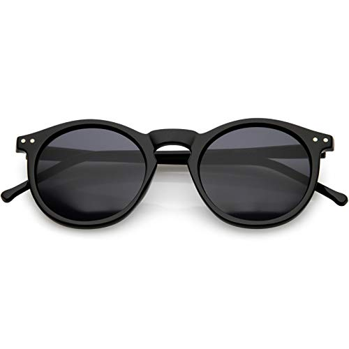 zeroUV - Vintage Retro Horn Rimmed Round Circle Sunglasses with P3 Keyhole Bridge (Black/Smoke)