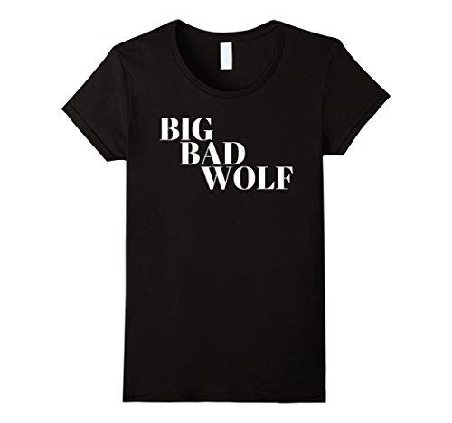 Womens Big Bad Wolf White Tee T-shirt Medium Black
