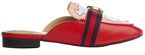 Calaier Womens Catxit Square-Toe 2.5CM Western Heel Slip-On Slippers Shoes Red 1Pixv3opfX