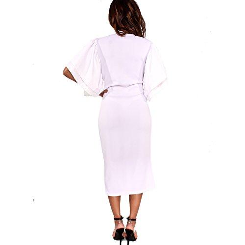 Bodycon4u Une Robe De Cocktail Épaule Grand Blanc Complet Des Femmes