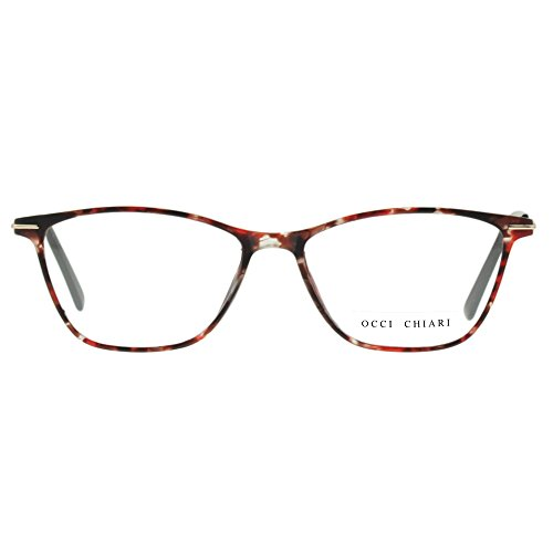 Eyewear Frames-OCCI CHIARI-Rectangular Eyeglasses Frame with Clear Lenses (Flower, 52)
