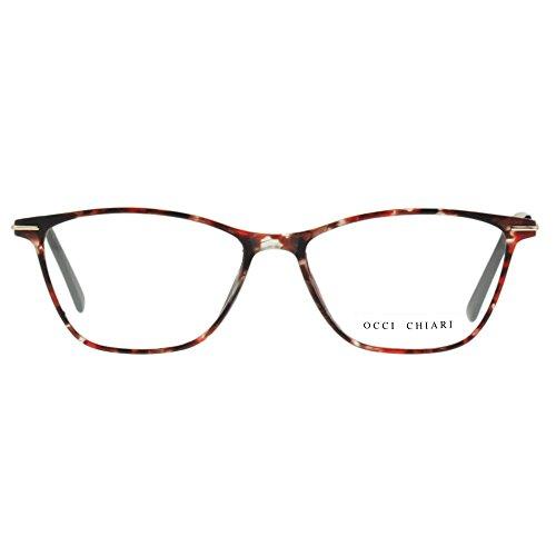 Eyewear Frames-OCCI CHIARI-Rectangular Eyeglasses Frame with Clear Lenses (Flower, - Eyeglasses Women