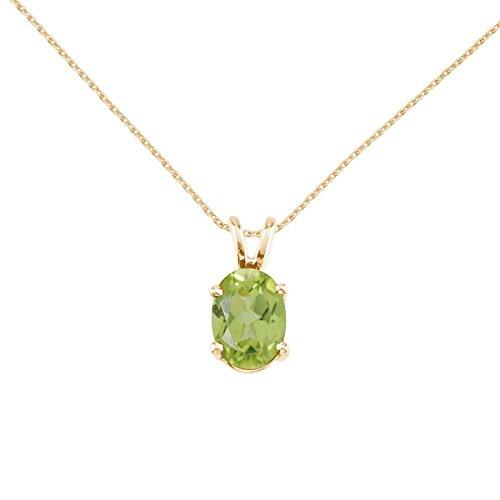 FB Jewels Solid 14k Yellow Gold Genuine Birthstone Oval Peridot Pendant (0.9 Cttw.)