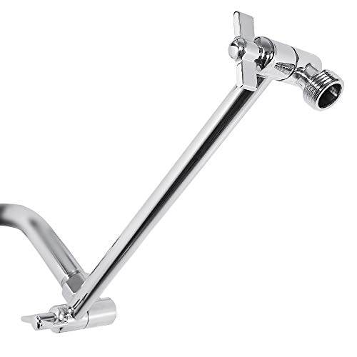 11 Inch Adjustable Shower Arm Universal Connection, Nearmoon Solid Brass Shower Extension Arm ,Adjust Angle To Upgrade Shower Experience, Chrome Finish, Easy To Install,Anti-leak