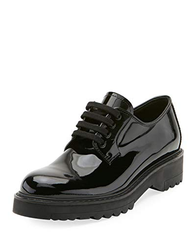 (Prada 35MM Patent Leather Laceup Shoes 36.5 Black )