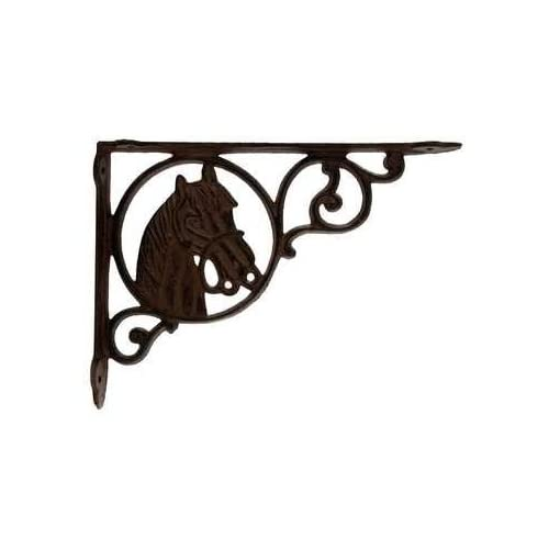 """""""ABC Products"""" - Heavy Cast Iron - Horse Head - Book Shelf Bracket Or All Purpose Hanger - Wall Mount - Old Country Look - (Antique Rust Finish - Accented With Primitive Swirls and Curls)"""