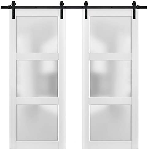 Lucia 2552 Matte White Solid Panel Interior Doors Sturdy Double Barn Door 64 x 84 inches with Frosted Glass 3 Lites Top Mount 13FT Rail Hangers Heavy Set