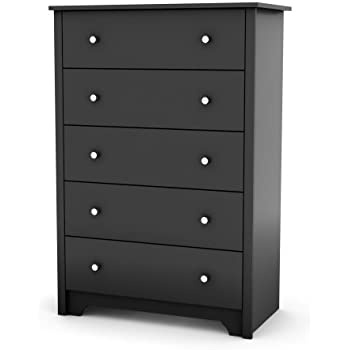 South Shore Vito Collection 5 Drawer Chest  Black. Amazon com  5 Drawer Dresser Chest Black Wood Grain Bedroom