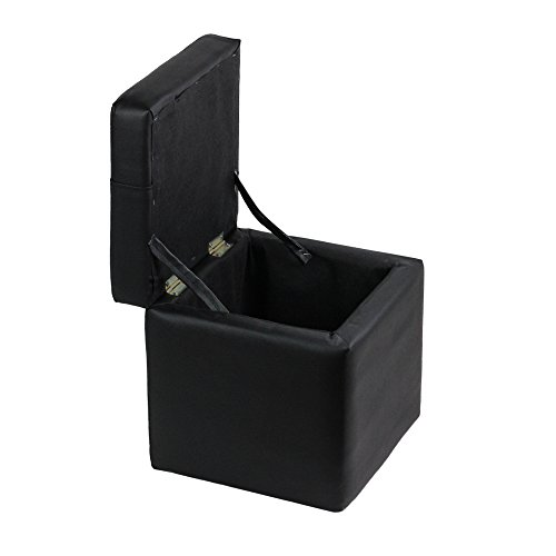 raumeyun Small Ottoman with Lift Top Storage Faux Leather Foot Rest,Black wood frame stool. by raumeyun (Image #1)