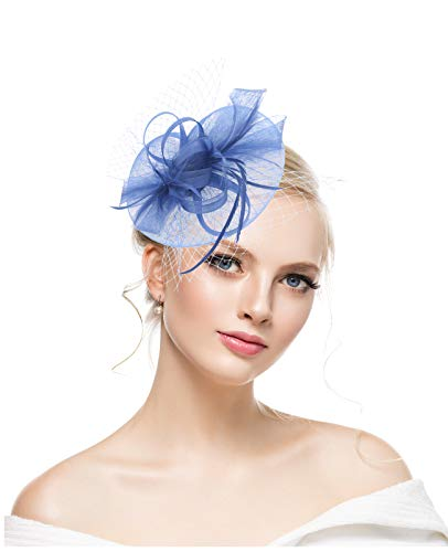 Flowers And Veil (Fascinators Hats for Womens 20s 50s Headwear with Veil Flower Cocktail Wedding Tea Party Hat Fit Girls and)