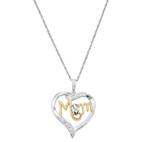 ArtCarved Mom's Love Simulated White Spinel Birthstone Sterling Silver Pendant Necklace, 18 Inches (Spinel Necklace White)