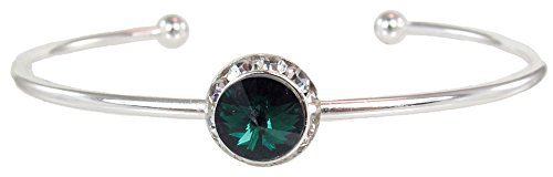 Swarovski Breast Cancer Bracelet - Stackable Swarovski Crystal Cuff Birthstone Bracelet, May - Emerald