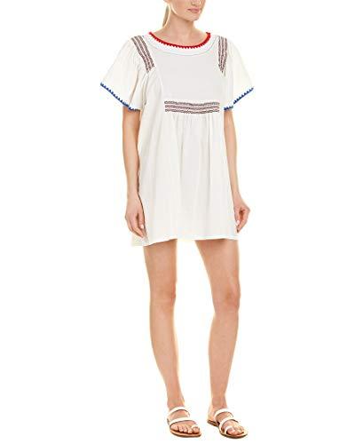 Stellah Womens Smocked Linen-Blend Shift Dress, L, White