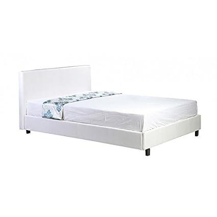 Direct Furniture Pablo - Letto a telaio basso, in ecopelle, effetto pelle Legno, White, Singolo PB3FTWHT-0