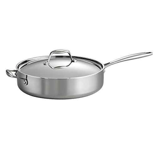Tramontina 80116/018DS Gourmet 18/10 Stainless Steel Induction-Ready Tri-Ply Clad Covered Deep Saute Pan, 5-Quart, Stainless by Tramontina