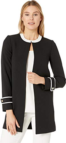 (Tahari by ASL Women's Crepe Topper with Framed Cuff Detail Black/Ivory 6)