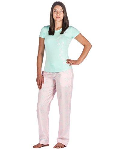 Noble Mount Homewear Pijama de 100% Poplín Algodón para Mujer Estrellado Rosa/Azul Mar
