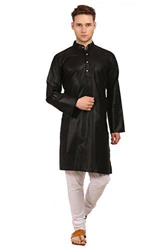 Wintage Men's Cotton Silk Festive and Casual Black Kurta Pyjama