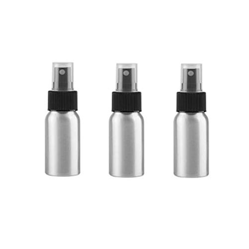 3 Pcs Aluminum Fine Mist Spray Bottle with Black Pump Sprayer Empty Sample Atomizer Containers for Essential Oils Perfume Aromatherapy Makeup Water size ()