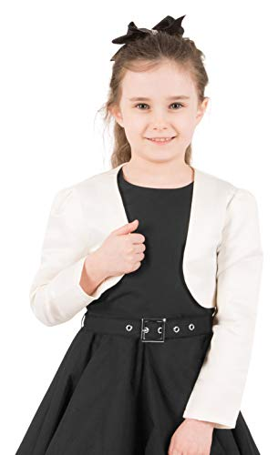 BlackButterfly Kids Satin Long Sleeve Bolero Childrens Girls Shrug (Ivory, 7-8 YRS)