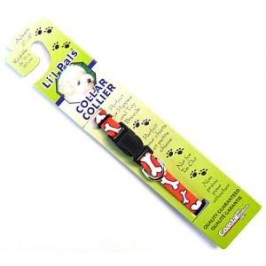 Coastal Pet Products DCP6221RWB 5/16-Inch Nylon Li'l Pals Adjustable Printed Pattern Dog Collar, XX-Small, Red/White Bones
