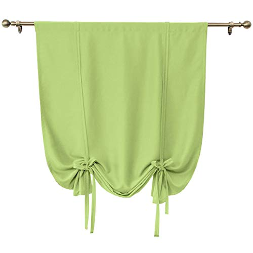 (Solid Green Blackout Curtain,Tie Up Shades Thermal Insulated Drapes Panels for Small Window Valance,Balloon Room Darkening Privacy Curtain for Kitchen,Nursery,Bedroom Living Room,32x55 inch Long)
