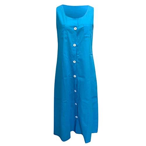iLOOSKR Fashion Dress Plus Size Womens Summer Sleeveless Linen Dress Loose A-line Party Solid Dress ()
