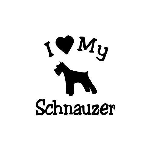 (13.4CM13CM I Love My Dog Schnauzer Pet Motorcycle Decals Car Body Window Stickers Car Styling Full Body Funny Car Sticker Black 1pcs)