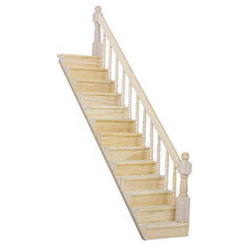 (Ebeauty Delicate Wooden Stair Stringer Step Replacement Pre-Assembled 45-Degree Slope Mini Wooden Staircase with Right Handrail Dollhouse Miniature Furniture)