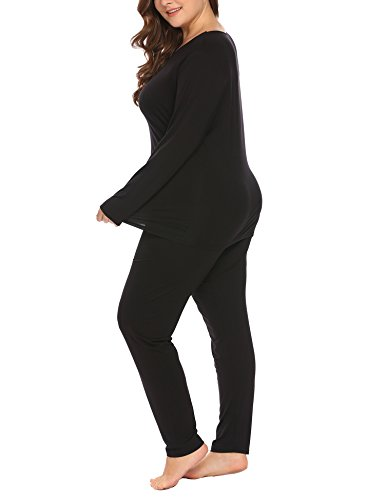 Women's Plus Size Thermal Long Johns Sets 2 Pcs Underwear Top & Bottom Pajama XL-11XL by Vpicuo (Image #4)