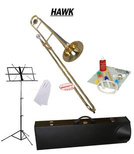 Hawk Gold Lacquer Slide Tenor Bb Trombone School Package with Case Music Stand and Cleaning Kit WD-TB315-PACK by Hawk