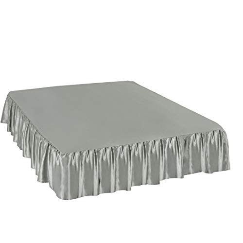 PiccoCasa Satin Silk Bed Skirt 300 Thread-Count Dust Ruffle with 14 Inch Drop - Gray, Queen Size: 60 x 80 Inch ()