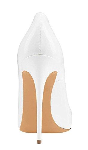 Sexy Aiguille Grande Heel Chaussures Talon Escarpins Blanc High Taille 120mm Vernis Femme EDEFS qZOATa