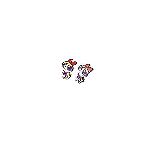 Powerpuff Girls Blossom Logo Superhero Cartoon Post Stud Earrings In Gift Box -