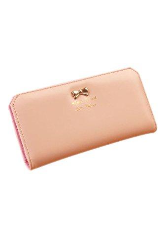 SODIAL (R) Dame schlank Kunstleder lange Schmetterling Geldboerse Karten Geldbeutel Tasche (rosa)