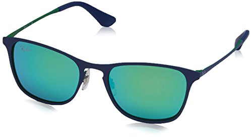 Ray-Ban Kids' Metal Unisex Square Sunglasses, Rubber Green/Blue, 48 - Ban Ray Protection Uv