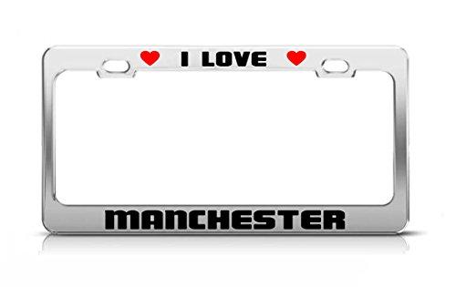 Manchester United License Plate - I LOVE MANCHESTER United Kingdom License Plate Frame Tag Holder