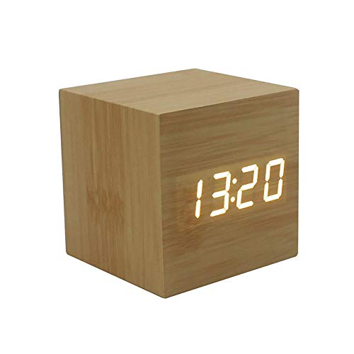 SPA Tool Battery or USB Powered Mini Cube Yellow Wood White LED Clock - Time Display & Sound Control