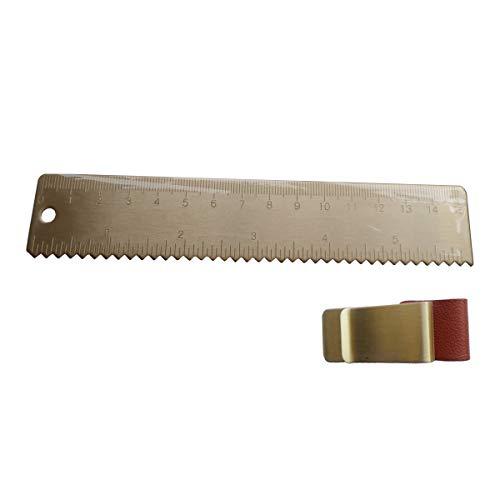 Small Metal Ruler 6 Inch (15cm) Brass Ruler for Bullet Journal with One Pen Holder for Notebooks