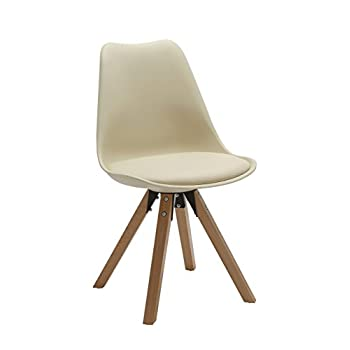 Duhome 2 Pcs Retro Dining Chairs Eames Style Side Chair Synthetic Leather Seat Cushion WY-518M (Cream)